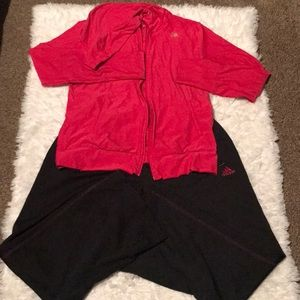 Black and pink Adidas size Lrg track suit